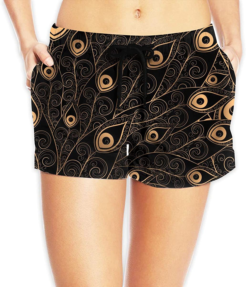 Golden Peacock Feathers Women's Beach Shorts Board Shorts with Pocket Swimming Trunks