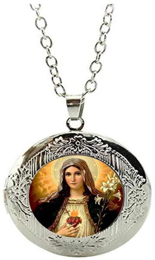Catholic Virgin Mary Saves Human Peace Locket Necklace Art Photo Jewelry Birthday Festival Gift Beautiful Gift