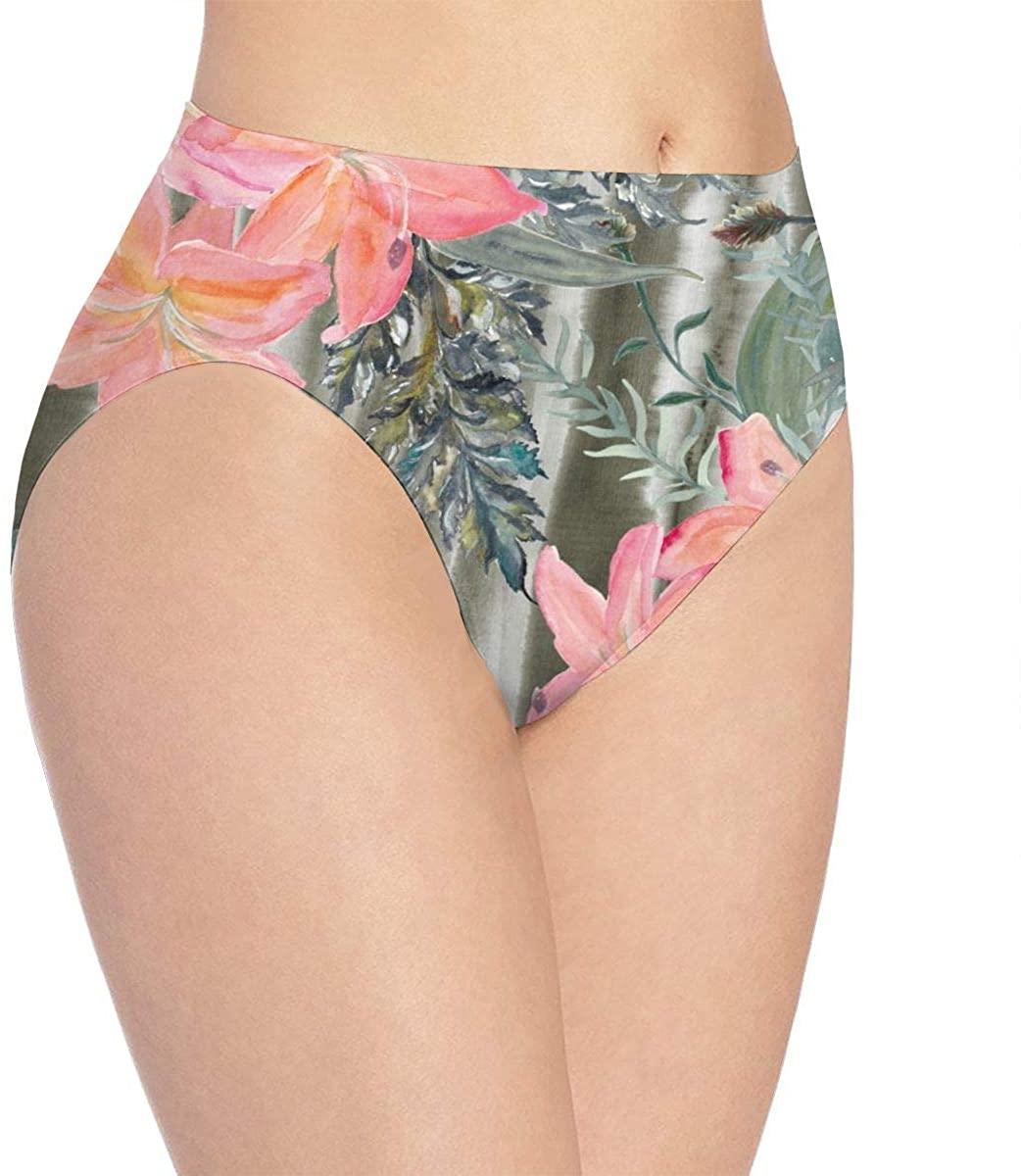 Beautiful Pink Lily Flowers Womens Stretch Seamless Underwear Laser Cut Bikini Panties