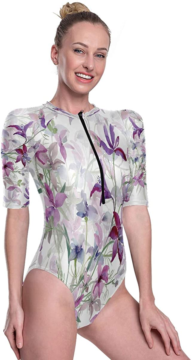 Godfery Gabriel Women's One Piece Short Sleeve Rashguard Surf Swimsuit Seamless Pattern of Wild Flowers Bathing Suit