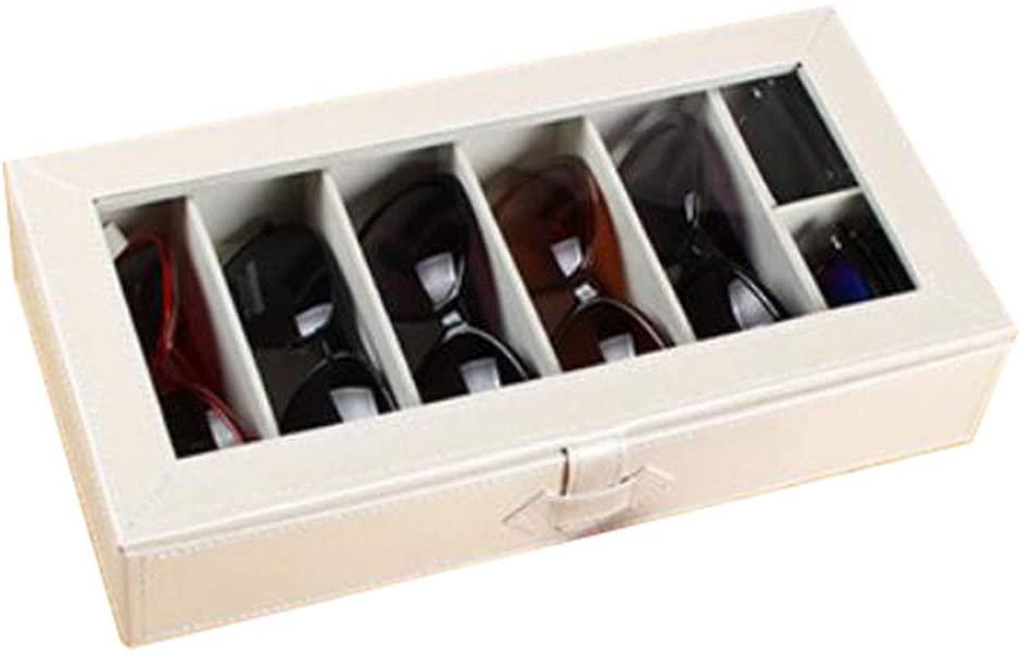 George Jimmy Leather Storage Case Eyeglasses Display Organizer Box– 6 Compartments (White)