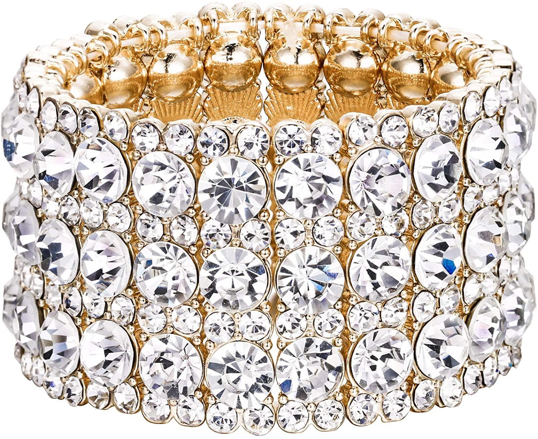 EVER FAITH Women's Round Shaped Austrian Crystal Wedding 3 Layers Luxury Elastic Stretch Bracelet