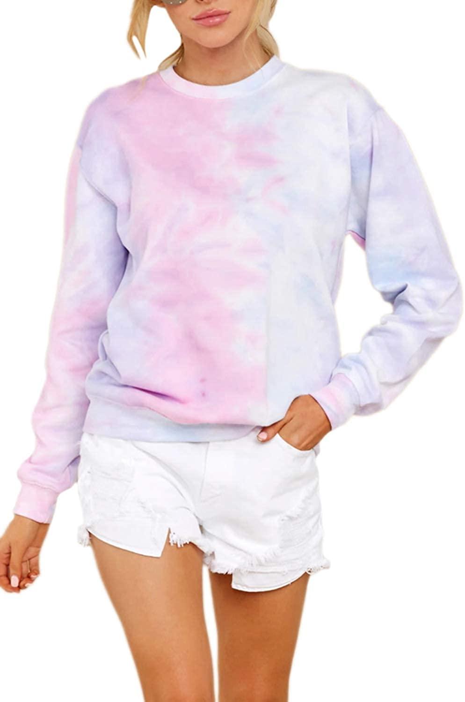 Cutiefox Women's Tie Dye Long Sleeve Crew Neck Pullover Sweatshirts