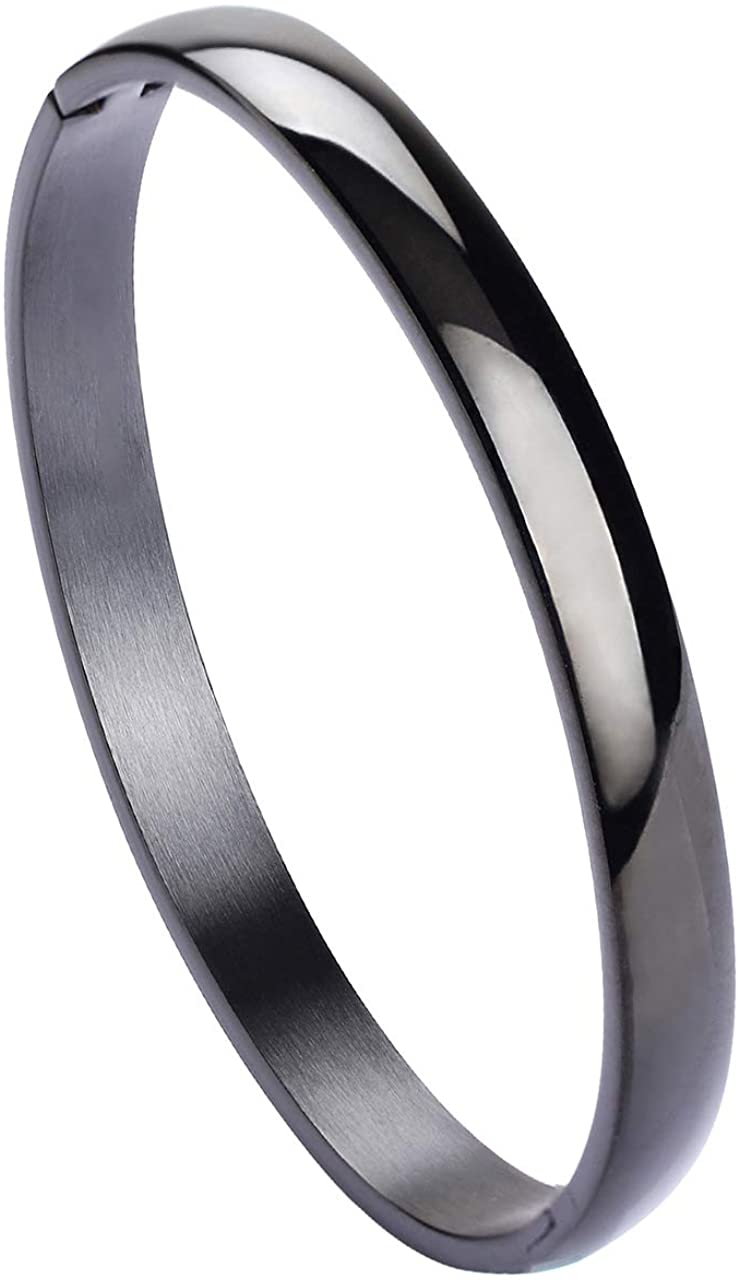 Manfnee Stainless Steel Bracelet for Woman Polished Closure Vintage Bangle Cuff Adjustable
