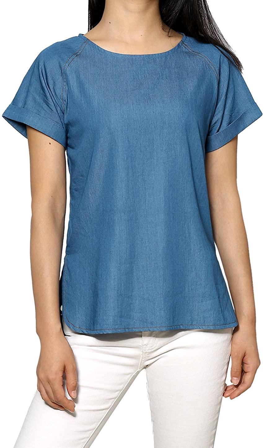 Allegra K Women's Cuffed Raglan Sleeves Side Slit Chambray Top