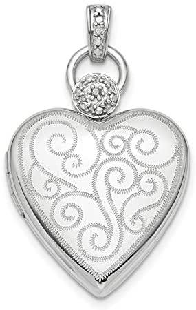 Sterling Silver Rhodium-plate 21mm Diamond Accent Satin Locket