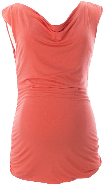 Jules & Jim Maternity Women's Ruched Sleeveless Tunic Medium Orange