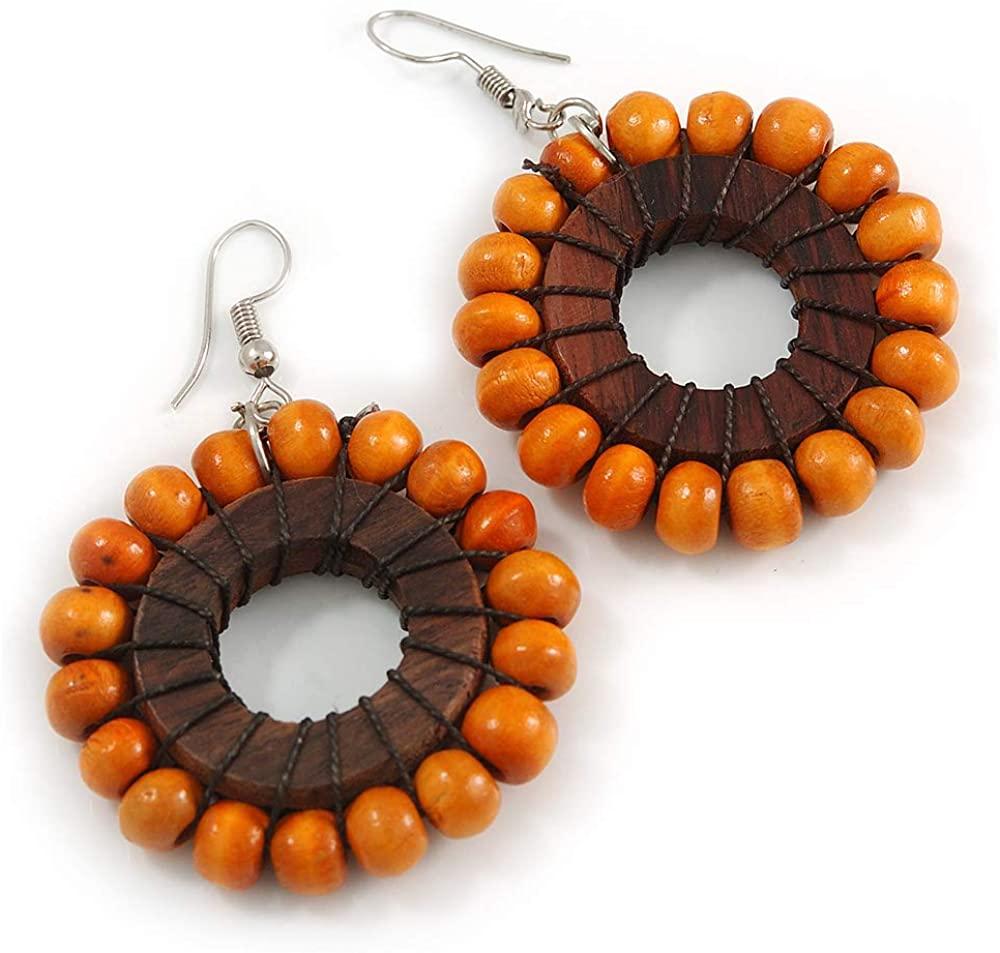 Orange/Brown Wood Bead Hoop Earrings - 65mm Long