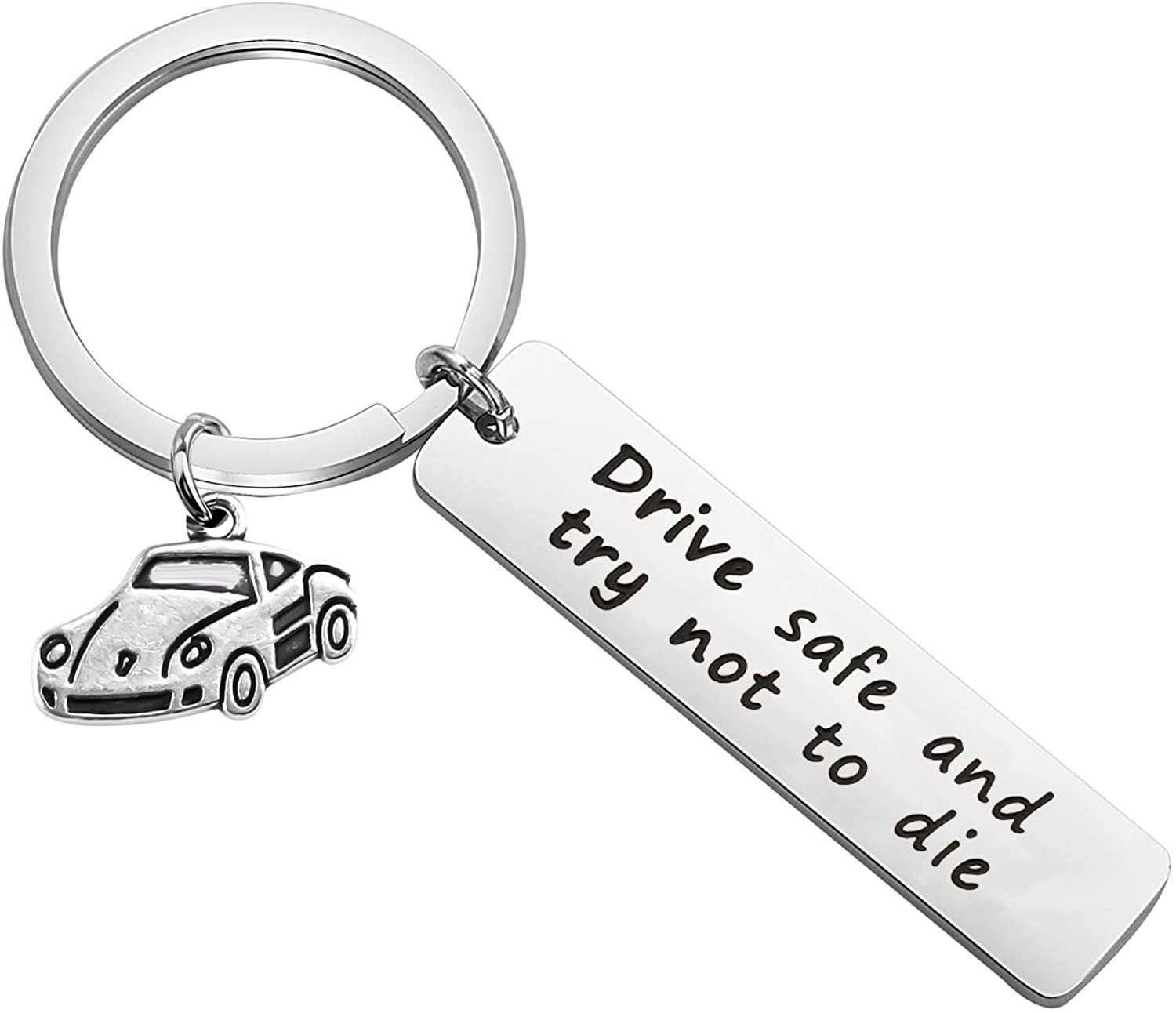 CYTING Drive Safe and Try Not to Die Keychain Sweet 16th Birthday Gift for Son Daughter New Driver Gift for Husband Dad Boyfriend