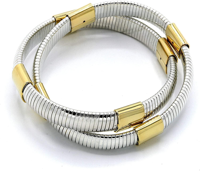 Marshal Metal Fashion Bracelet Omega 2Tone Stretch Double Cobra Bracelet (Silver 10mm x 2)