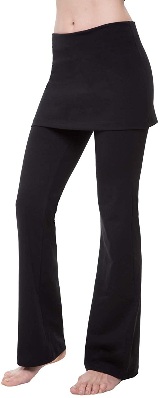 NIRLON Skirted Leggings Women High Waisted Yoga Pants Gathered Skirt Plus Size 28