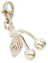 Rembrandt Charms Cherries Charm with Lobster Clasp, 10K Yellow Gold