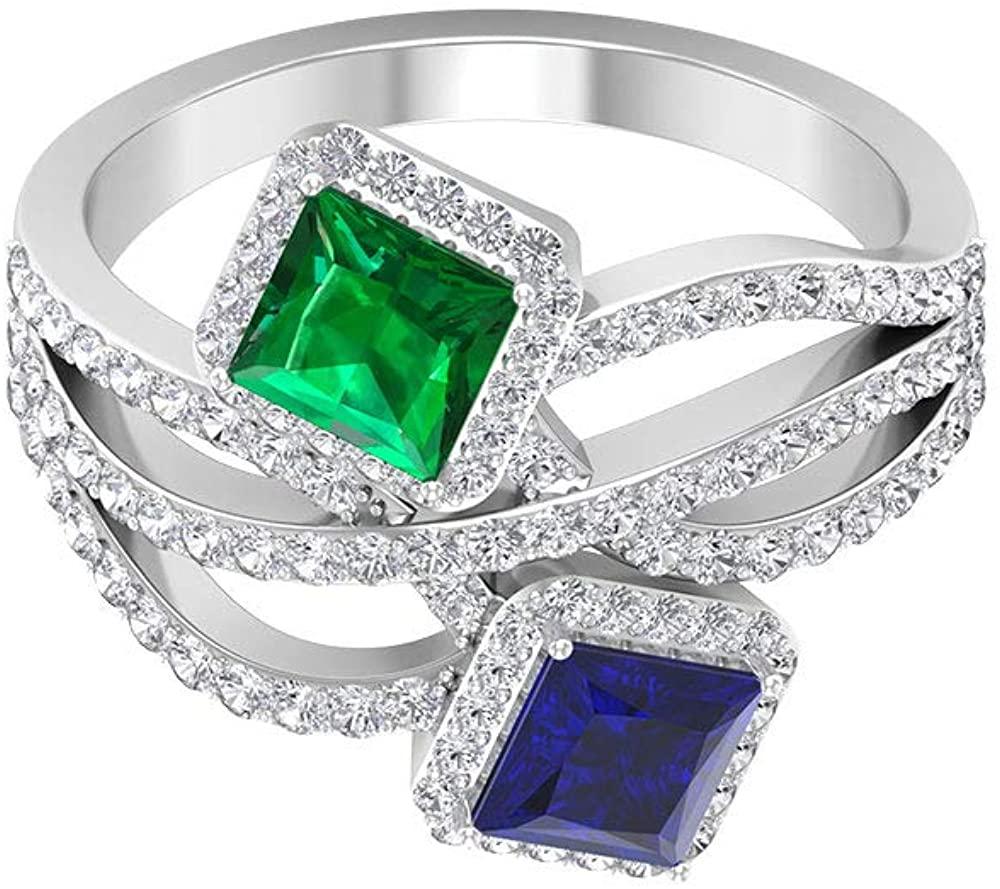 0.55 Ct Princess Cut Emerald Gold Ring, 0.7 Princess Cut Blue Sapphire Wedding Ring, 0.80 Ct Diamond Halo Bridal Ring, Classic Women Statement Ring