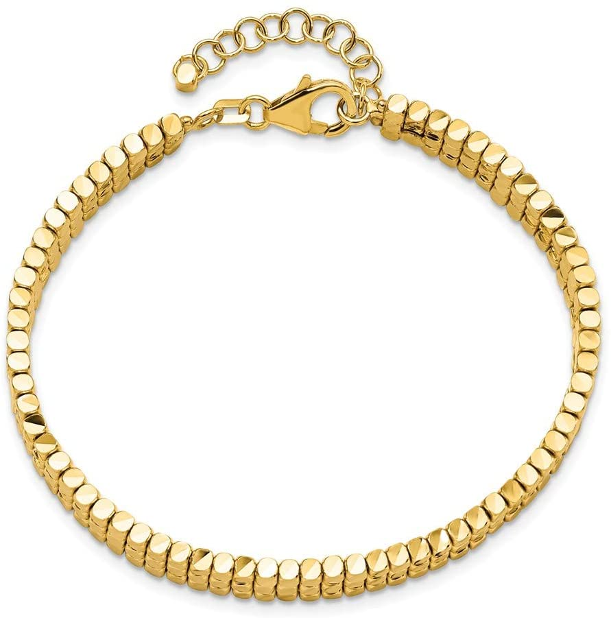 Leslie's 14K Polished D/C Flexible With 1in Safety Chain Cuff Bangle