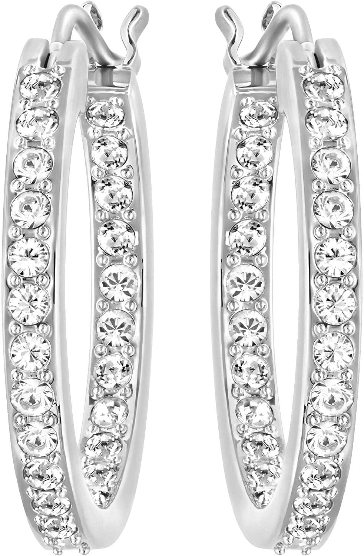 SWAROVSKI Women's Sommerset Crystal Embellished Hoop Earrings Pair, 3/4