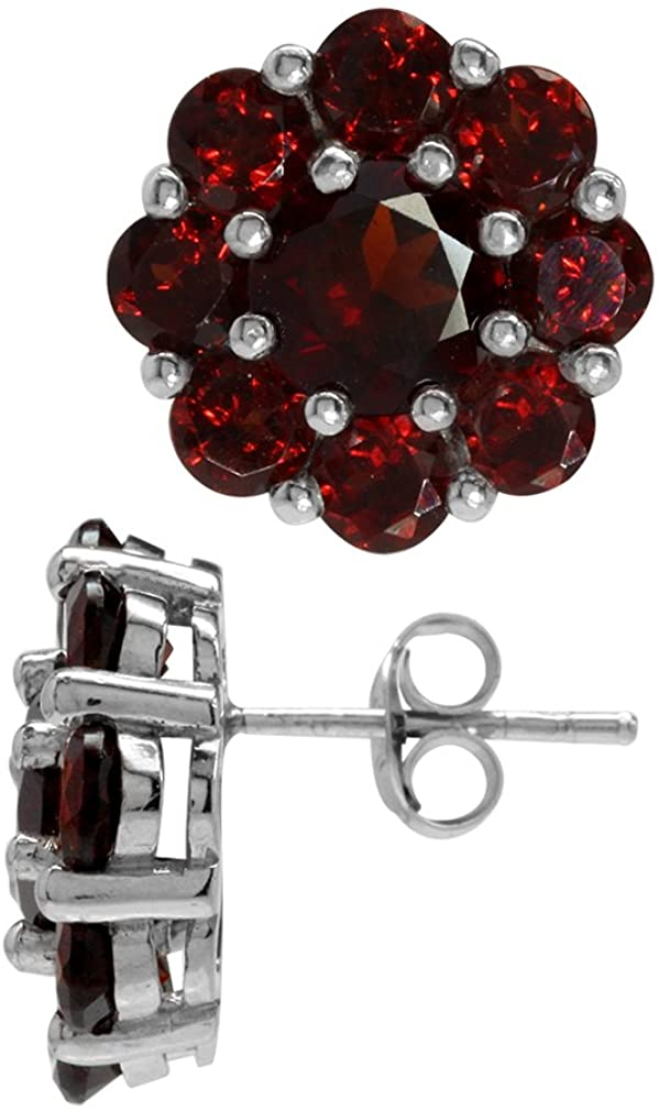 Silvershake 8.64ct. Natural Garnet White Gold Plated 925 Sterling Silver Flower Cluster Post Earrings