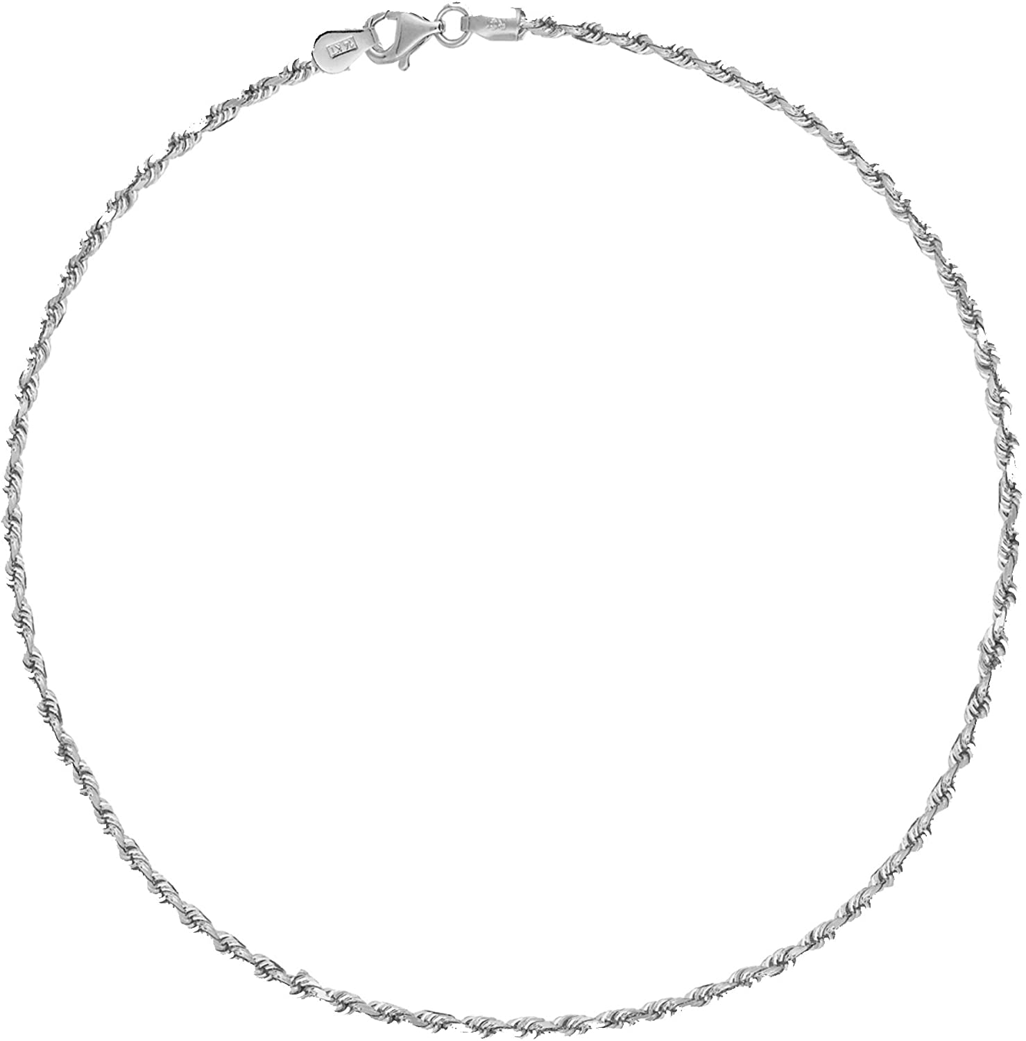Ritastephens Sterling Silver Italian 1.8mm Rope Link Lobster-Lock Chain Anklet or Bracelet