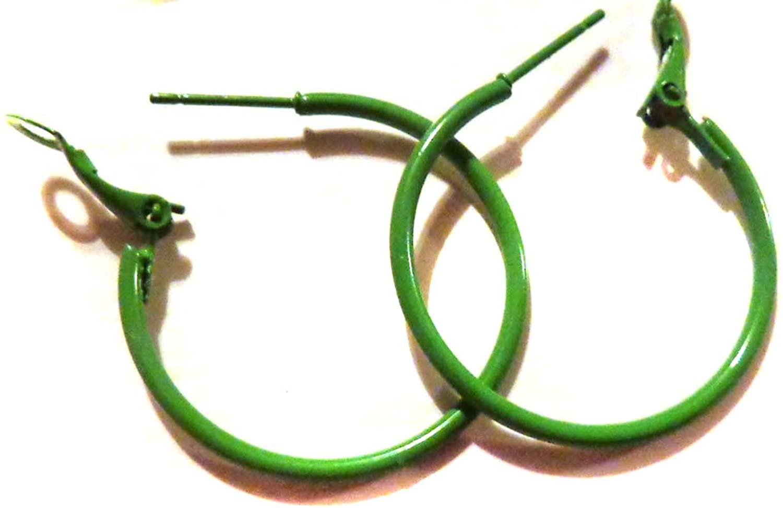 Color Hoop Earrings Simple Thin Hoop Earrings 1.5 Inch Green Hoop Earrings