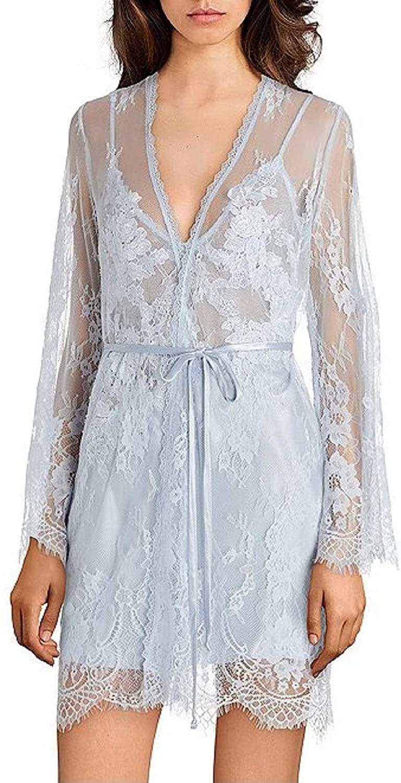 Jonquil Lace Wrap Robe Medium Blue