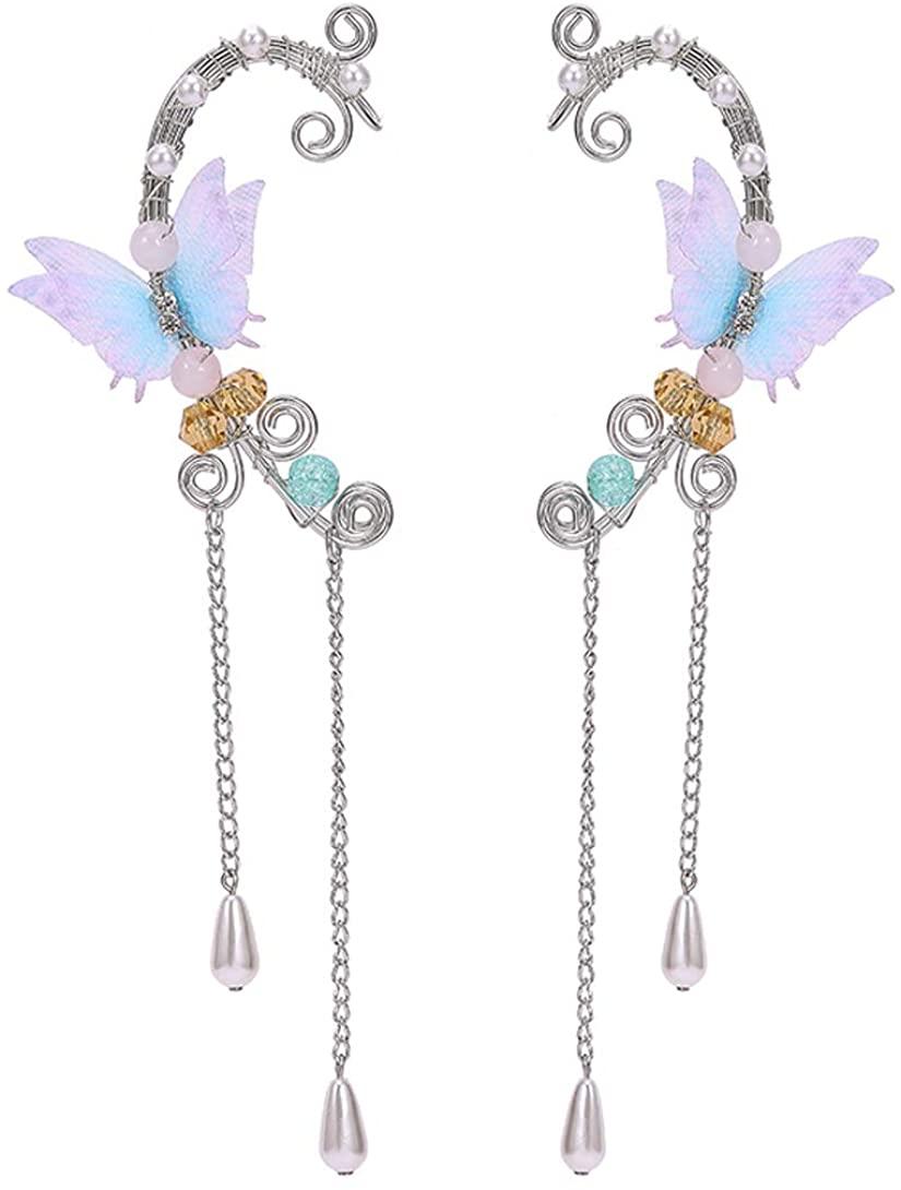 SXNK7 Elf Ear Cuffs Clip on Earrings Butterfly Flower Tassel Filigree Elven Cosplay Fairy Ear Wrap Cuffs Earrings for Women Girls Wedding Jewelry
