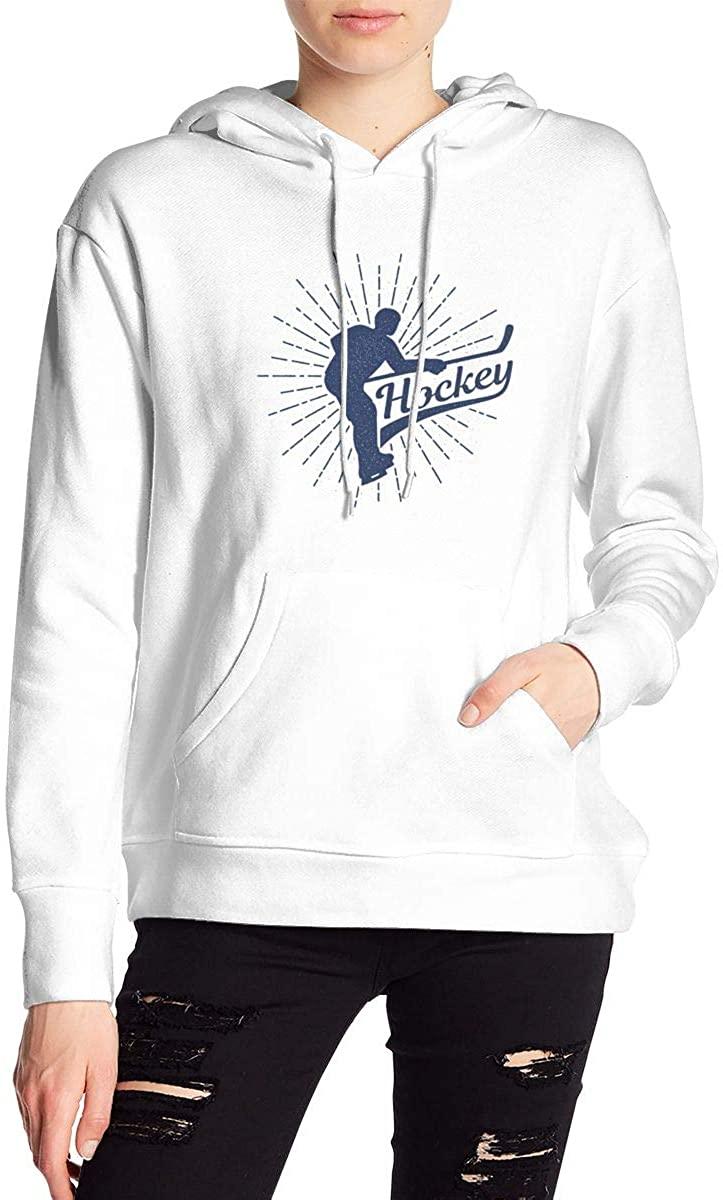 Hockey Retro Vintage Women's Long Sleeve Drawstring Pullover Hoodie Pocketed Sweatshirts