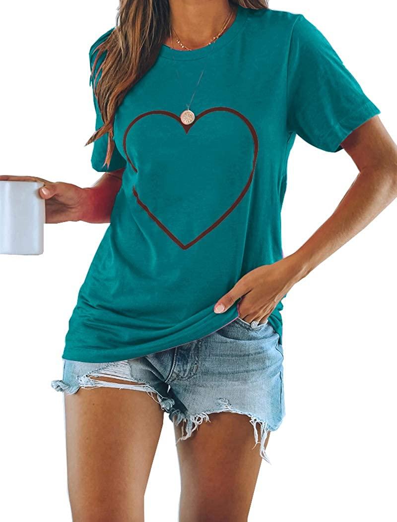 Peacameo Womens Casual Tops Short Sleeve Shirts Round Neck Heart Print Basic Cute Tee