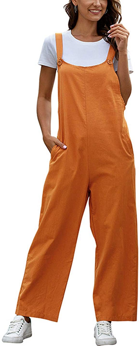 AMEBELLE Womens Fashion Loose Baggy Wide Leg Button Strap Cotton Overall Jumpsuits