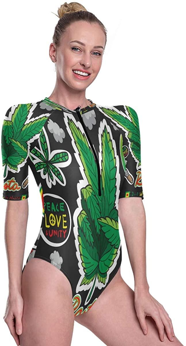 Womens Zip Up Printed Short Sleeve 1 Piece Rash Guard Swimsuit Red Yellow and Green Weed Reggae Style Swimwear