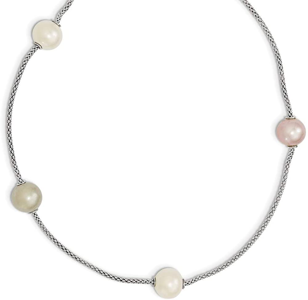 925 Sterling Silver Fancy Lobster Closure Freshwater Cultured Pearl Multi Strand with 2inch Ext. Necklace 17 Inch Jewelry Gifts for Women