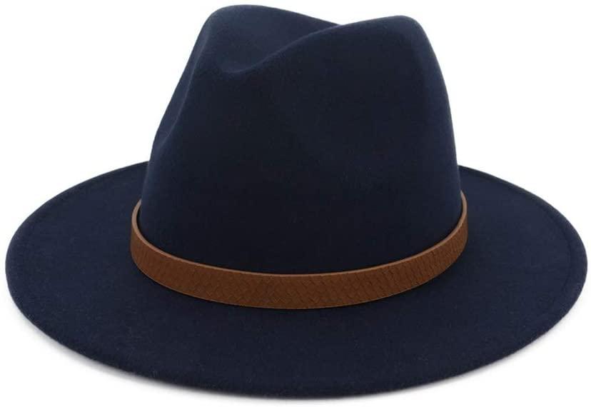 XinQuan Wang Men's Women's Wool Fedora Hat with Belt Wide Brim Church Hat Travel Autumn Cloche Jazz Fascinator Hat Pop Sombrero Hat (Color : Drak Blue, Size : 56-58)