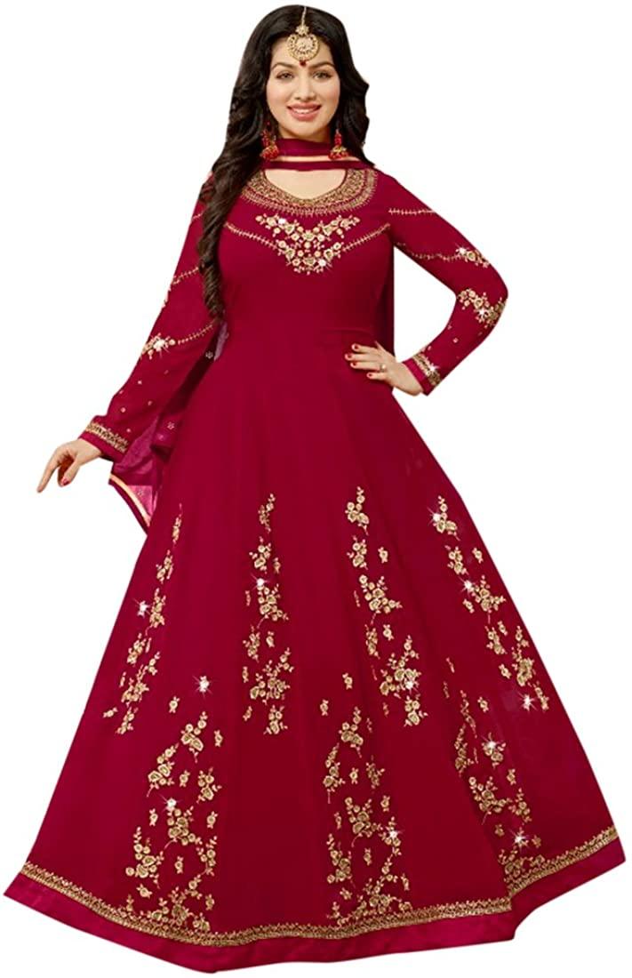 Bollywood Collection Women Floor Length Red Anarkali Salwar Suit Custom to Measure Indian Ethnic Bridal Wedding Ceremony Muslim Eid 2641 4