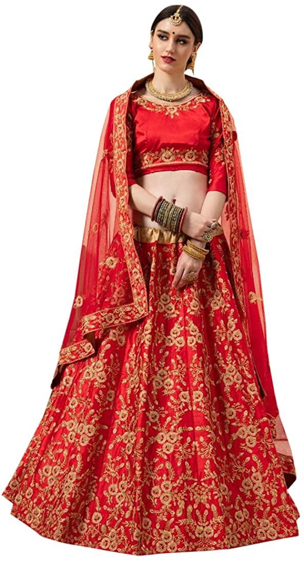 8931 Red Indian Hit Latest Malai Satin Lehenga Choli Heavy Embroidery work Bridal Wedding Party Cocktail Wear Ethnic Women Girls Semi Stitched