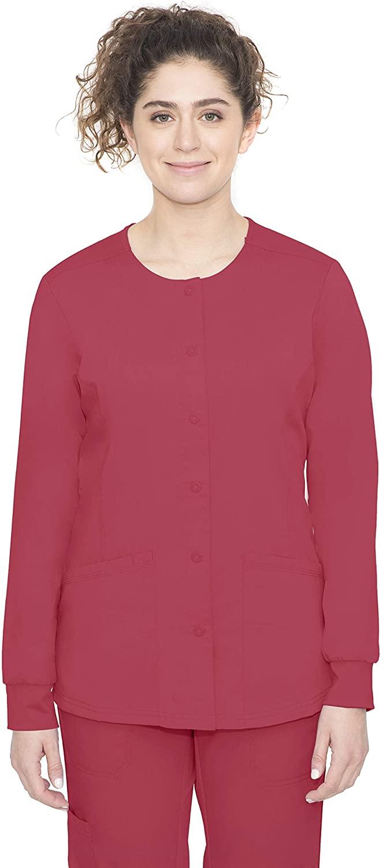 healing hands Purple Label Women's Daisy 5063 Snap Button Jacket Scrubs-Red-X-Large