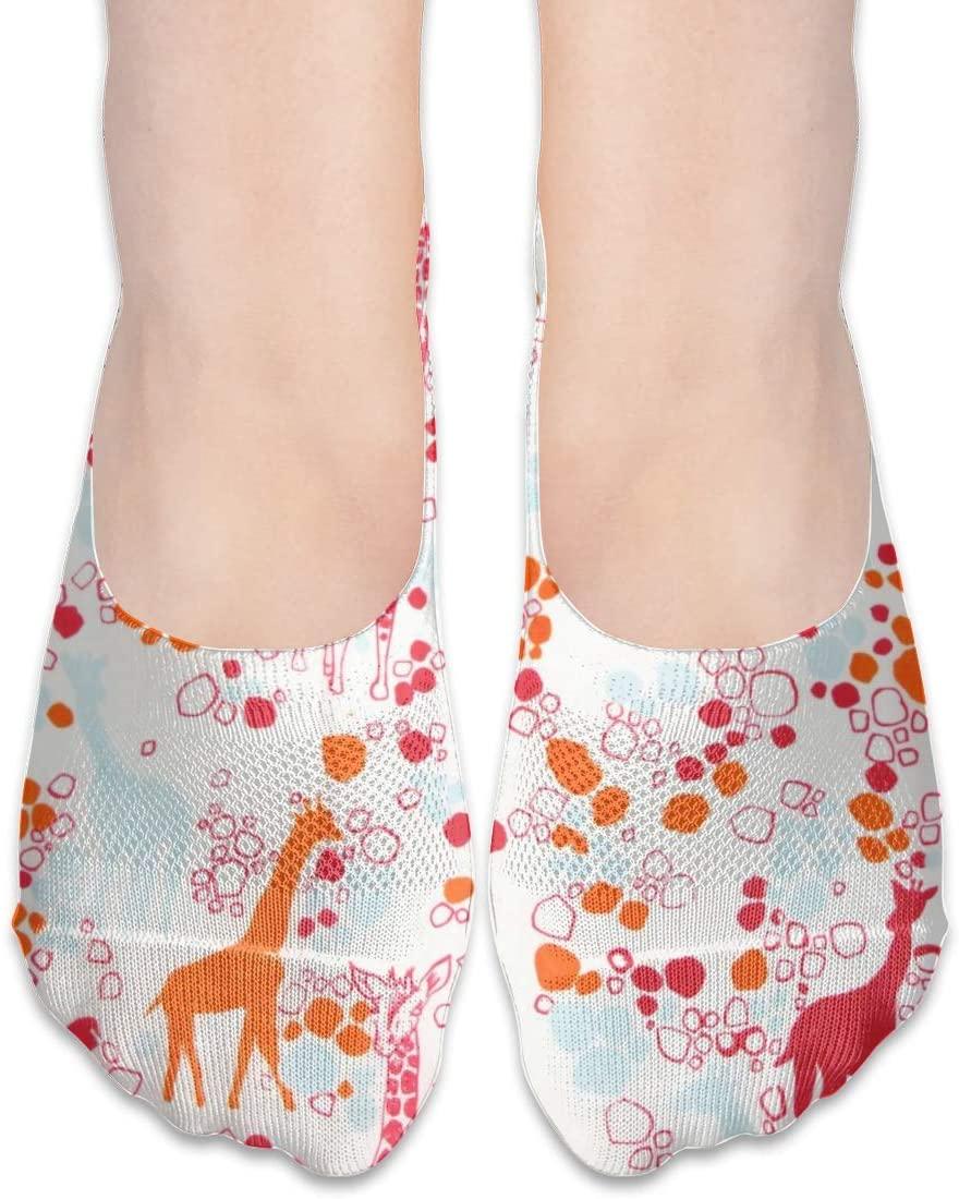 FriendEver No Show Socks,Giraffe Illustration Casual Invisible Flat Socks,Breathable Anti-Odor Low Cut Women Cotton Sox,Non Slip Liner Sock