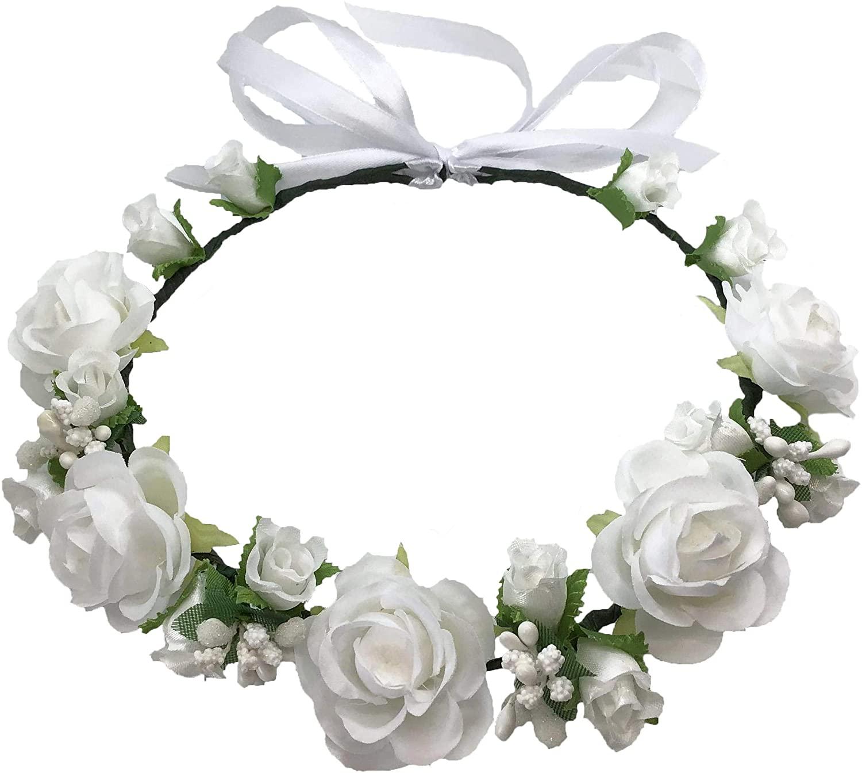 Flower Crown White Girls Headband - Headpiece Artificial Roses Wedding Bridal - Floral Boho Kids Toddler