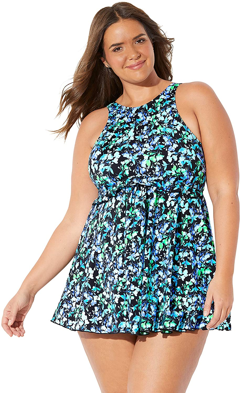 Fit 4 U Women's Plus Size High-Neck Swimdress