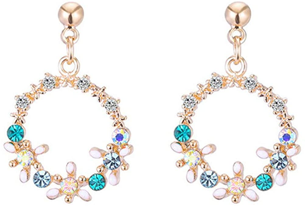 CICINIO Clip Earrings for Women Flower Shape Fashion Gold Plated Non Pierced Earrings