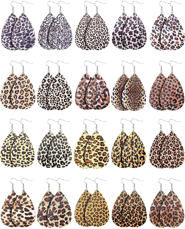 20 Pairs Leopard Faux Leather Teardrop Earrings Vintage Leopard Printed Dangle Earrings Lightweight Drop Earrings