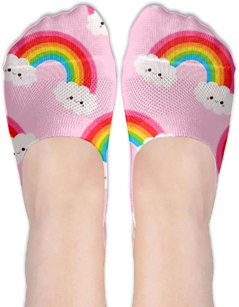Womens Rainbow White Clouds Casual Liner Athletic Running Socks Non Slip Flat Boat Line Girl Thin Anti-Slip 3D Printed Socks