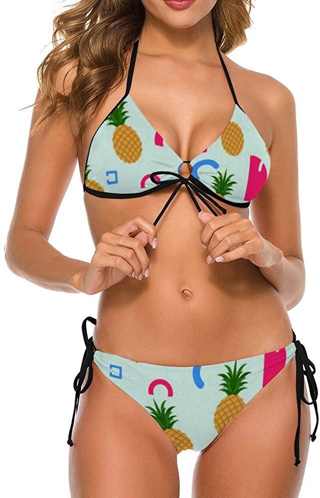 Women's Bikini Set, Pineapple Pattern Swimsuit Sexy Bathing Suit, Adjustable Straps Swimwear
