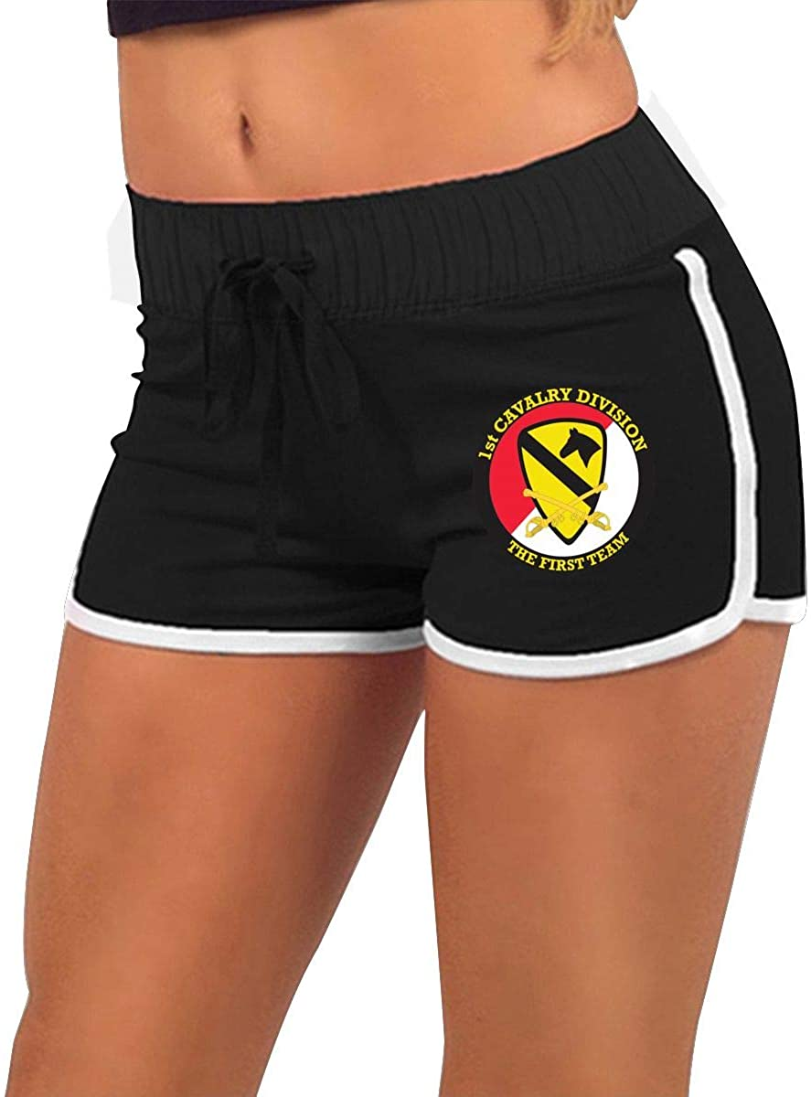 1st Cavalry Division with Sabres Women's Running Yoga Gym Comfy Fitted Sexy Low Waist Hot Pants