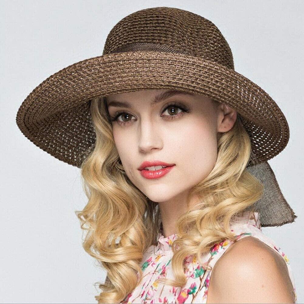 QNN Sun Hat Ladies and Ladies Straw Hat Summer Beachwear Sun Hat,Dark Coffee
