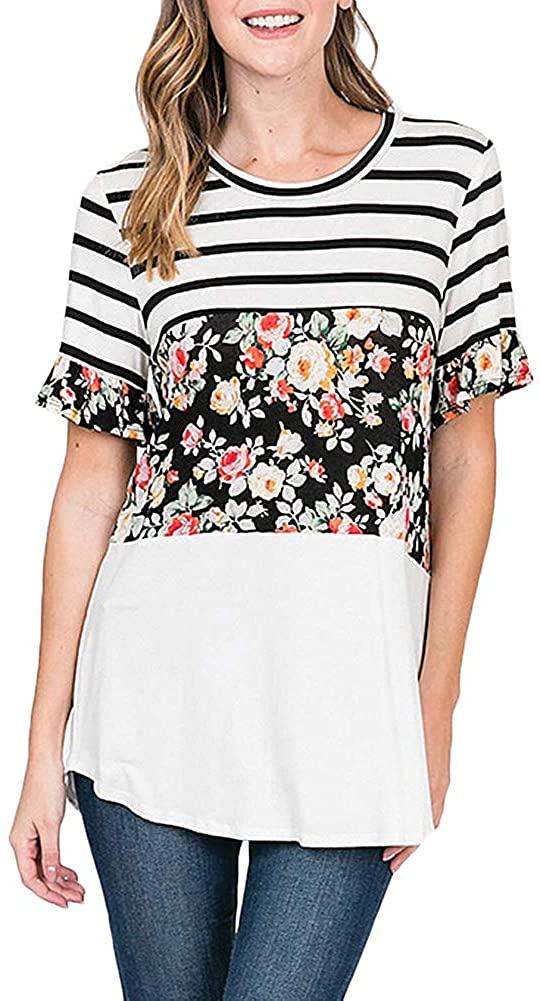 Women's Maternity Nursing Tops Striped Floral Short Sleeve Breastfeeding T-Shirt