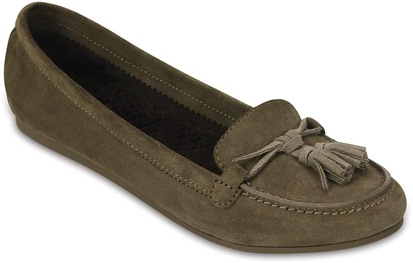 Crocs Womens Lina Lined Loafer Shoes, Walnut, US