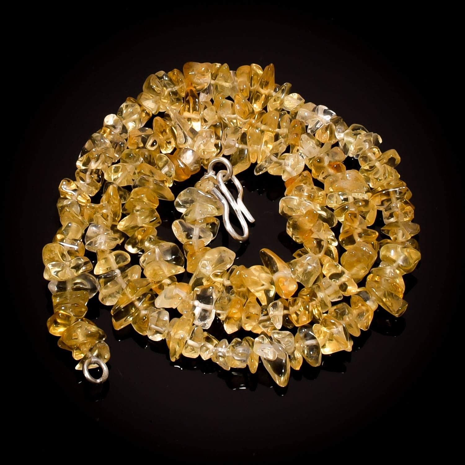 Unique Beads Natural Citrine Gemstone Uncut Smooth Beads Necklace 5-11 mm 16