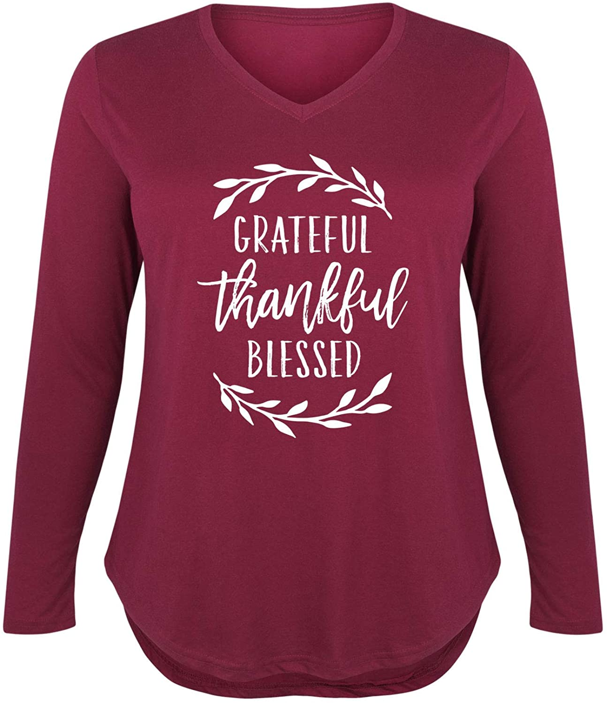 Grateful Thankful Blessed - Ladies Plus V-Neck Long Sleeve Tee