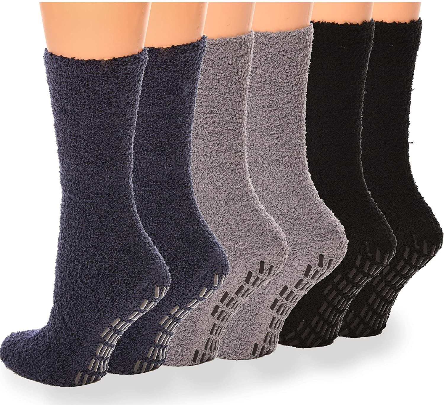 Debra Weitzner Non-slip Hospital Socks Fuzzy Slipper Grip Socks For Women Men 6 Pairs