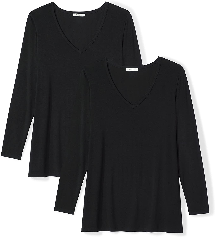 DHgate Brand - Daily Ritual Women's Plus Size Jersey Long-Sleeve V-Neck T-Shirt