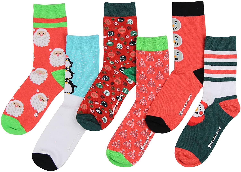 Women's Fun Colorful Crew Sock 6 Packs (Christmas