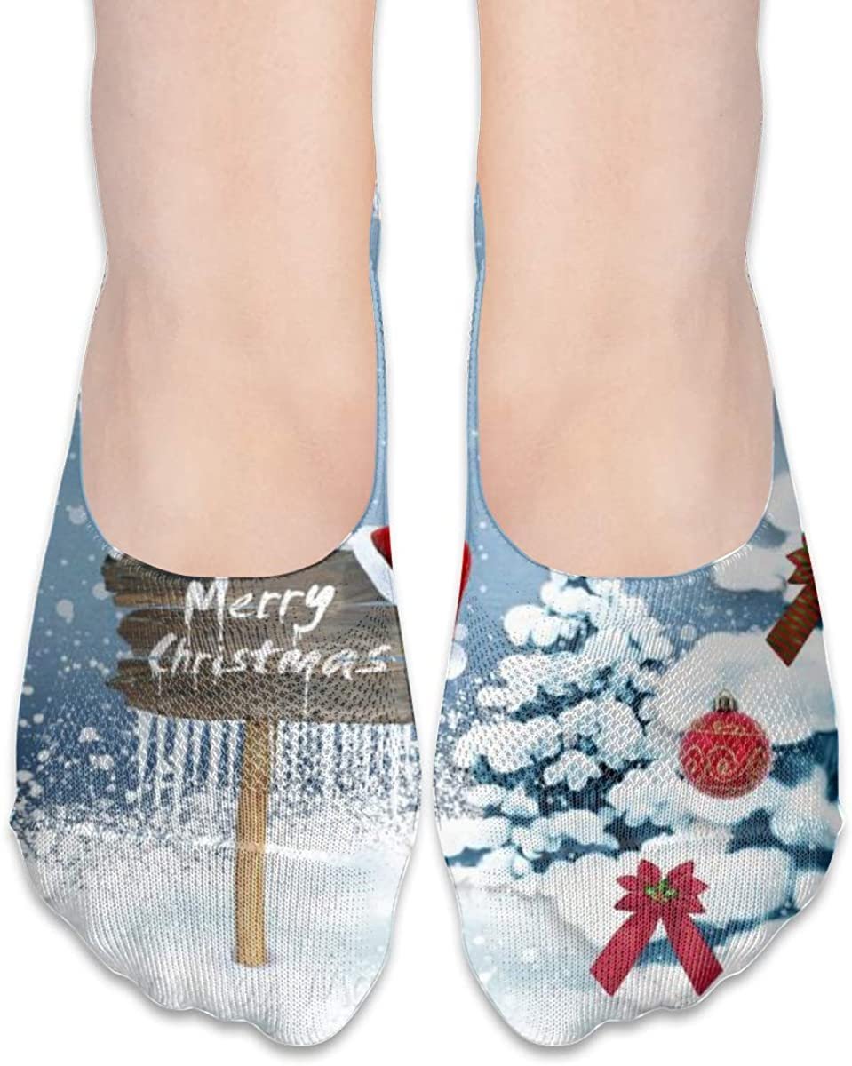 Happy Merry Christmas Tree No Show Socks Women Low Cut Non Slip Ankle For Loafer